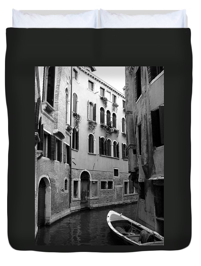 Venice Duvet Cover featuring the photograph Curved Canal by Donna Corless