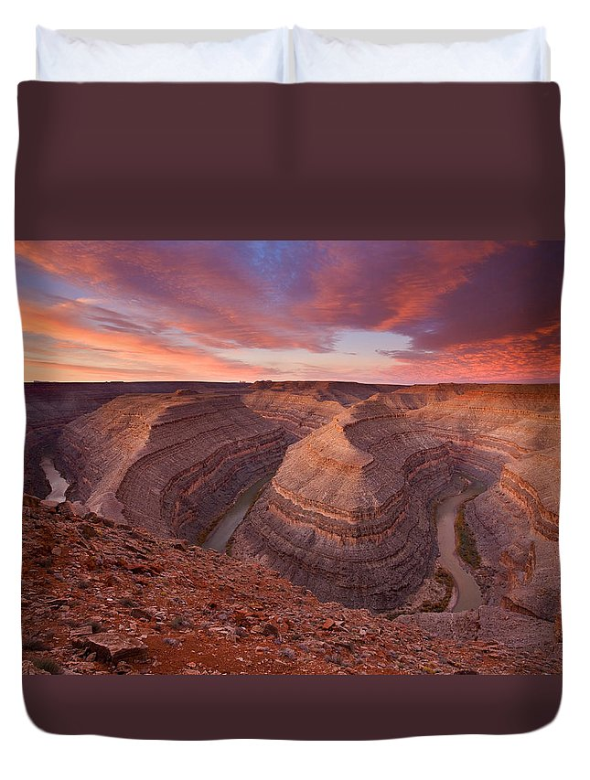 Canyon Duvet Cover featuring the photograph Curves Ahead by Mike Dawson