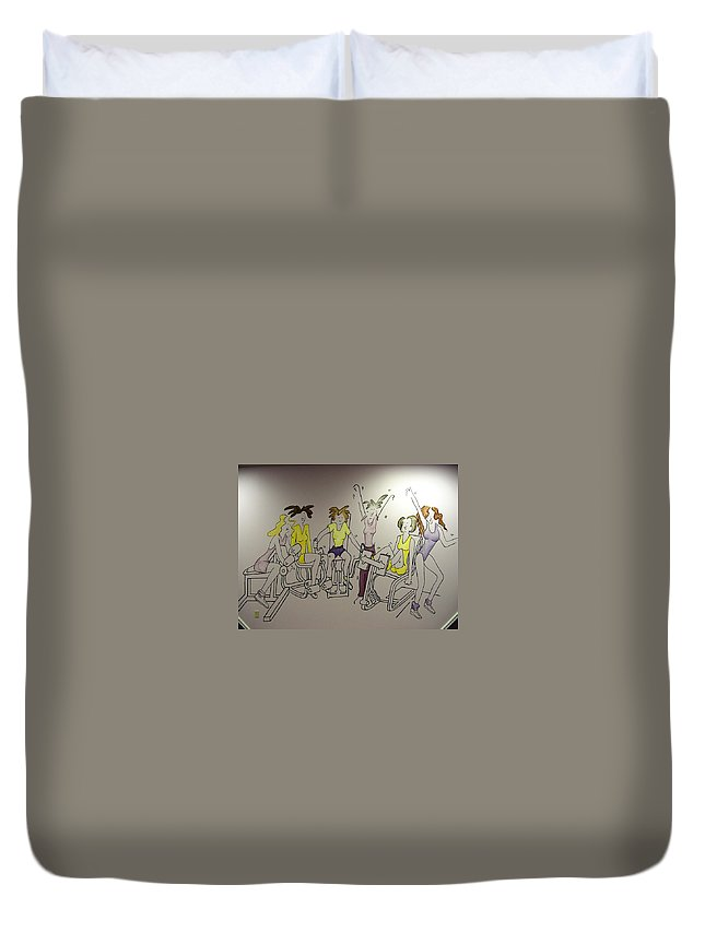 Curves Duvet Cover featuring the painting Curves Mural by Melissa Wiater Chaney