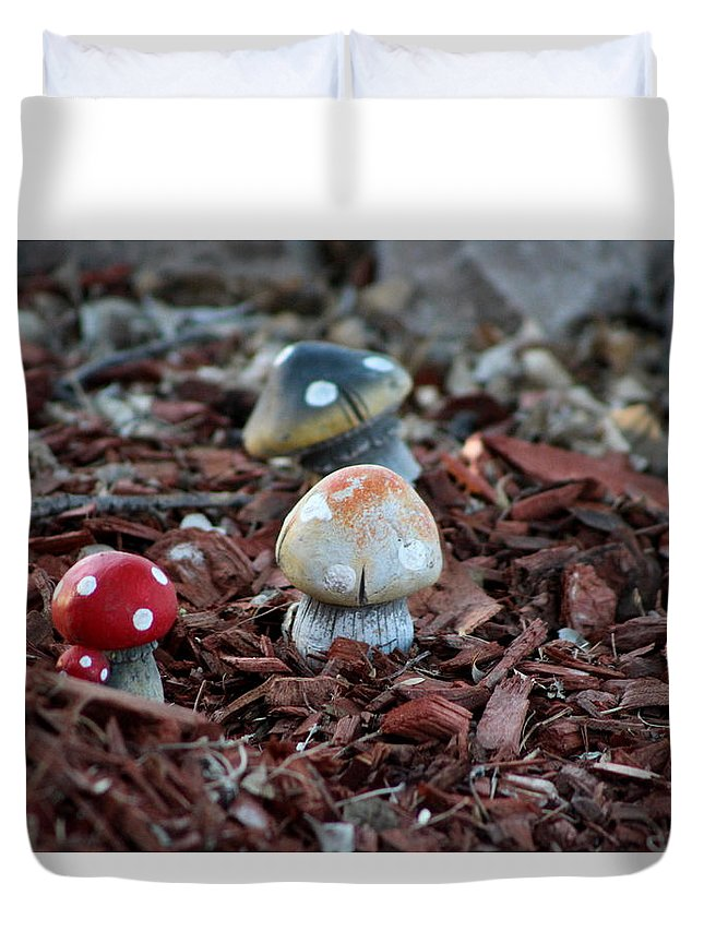 Tombstone Arizona Duvet Cover featuring the photograph Cluster of Toadstools in Fairy Garden by Colleen Cornelius