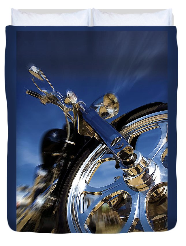 Motorcycle Duvet Cover featuring the photograph Custom Chopper by Ricky Barnard