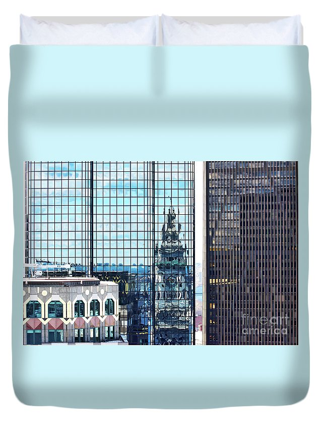 Reflection Duvet Cover featuring the photograph Custom House Reflection by Ruth H Curtis