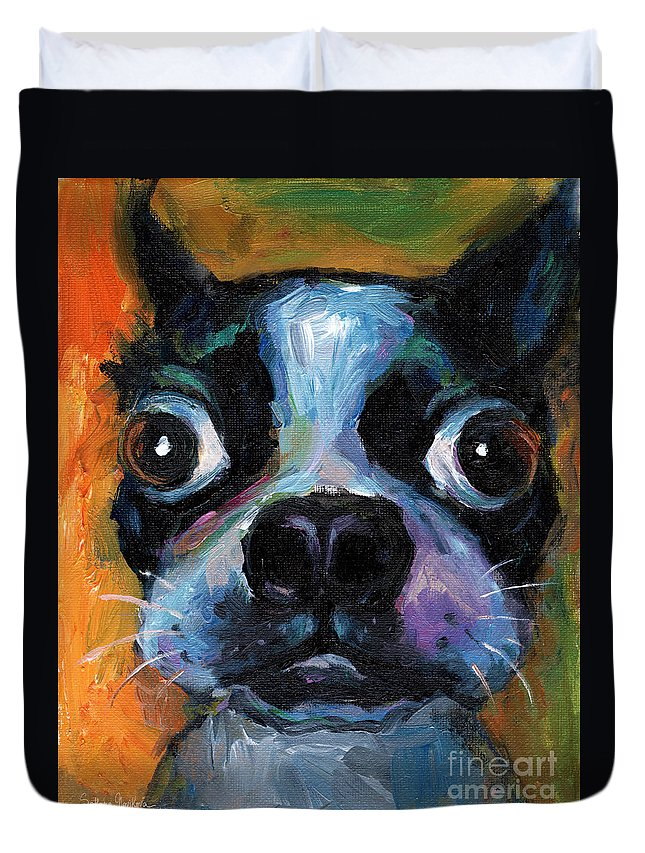 Cute Boston Terrier Duvet Cover featuring the painting Cute Boston Terrier Puppy Art by Svetlana Novikova