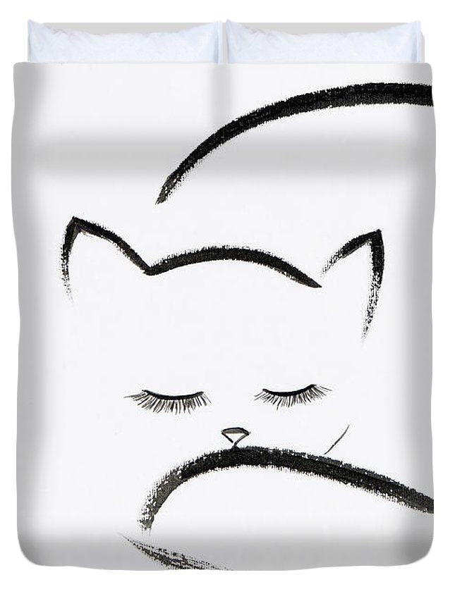 Cute Cuddled Up Sleeping Cat Japanese Zen Sumi-e Painting On Whi Duvet Cover