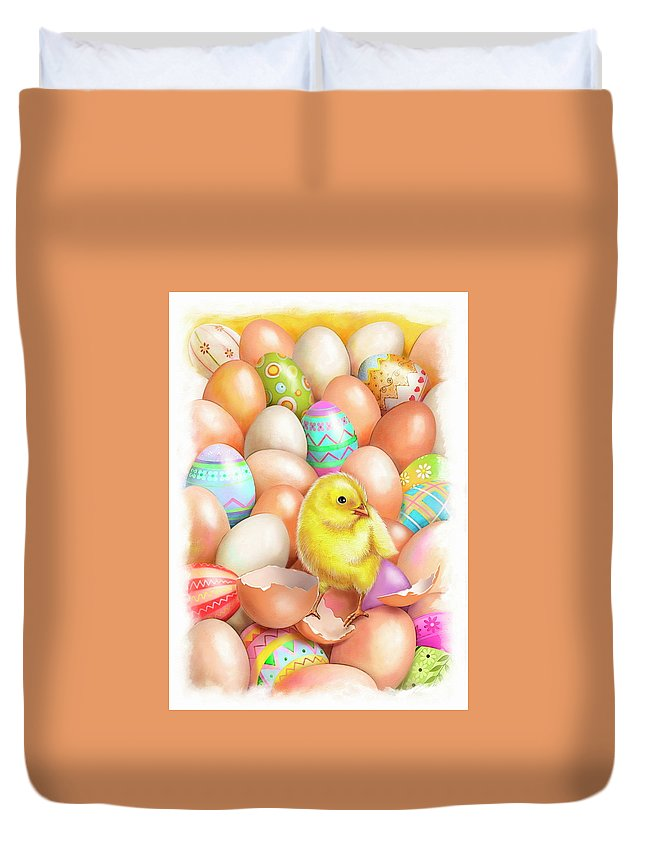 Cute Duvet Cover featuring the drawing Cute Easter Chick by Patrick Hoenderkamp