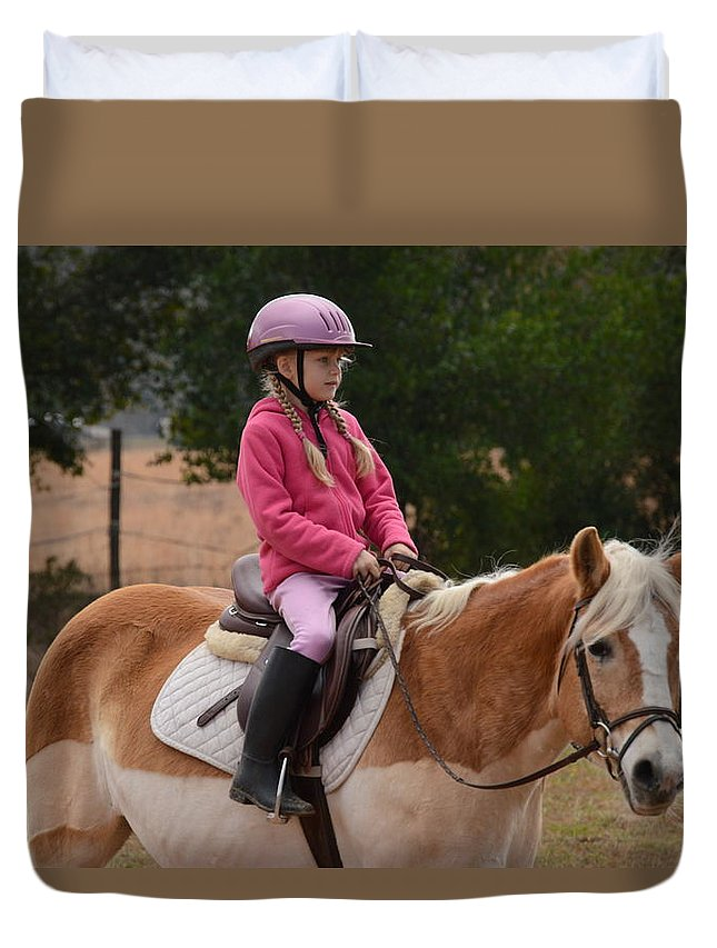 Horse Duvet Cover featuring the photograph Cute Girl On Horse 2 by Scott Robertson