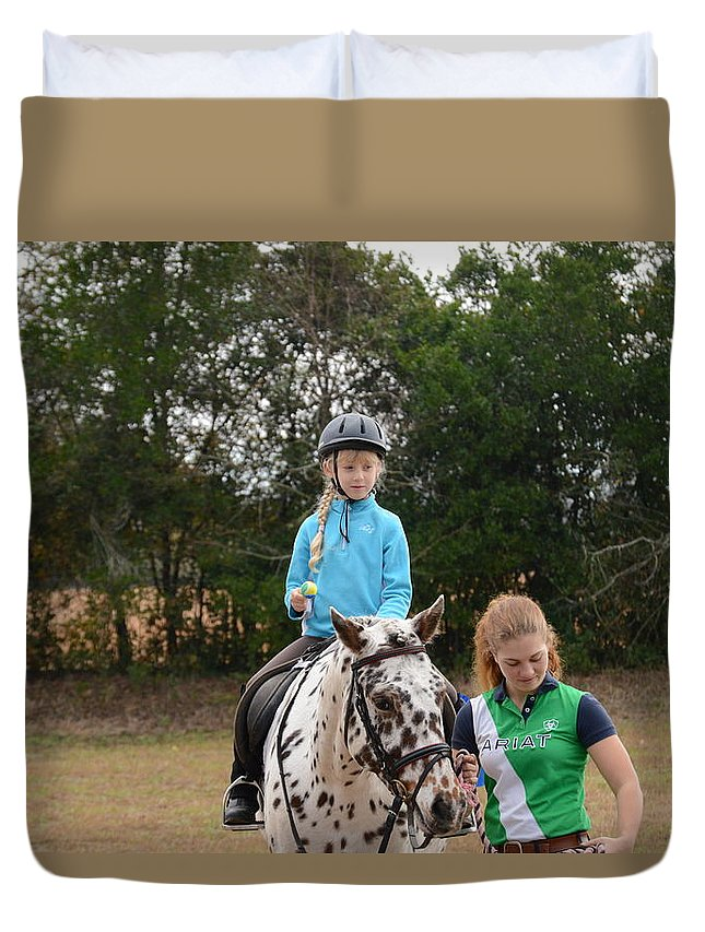 Horse Duvet Cover featuring the photograph Cute Girl On Horse 3 by Scott Robertson