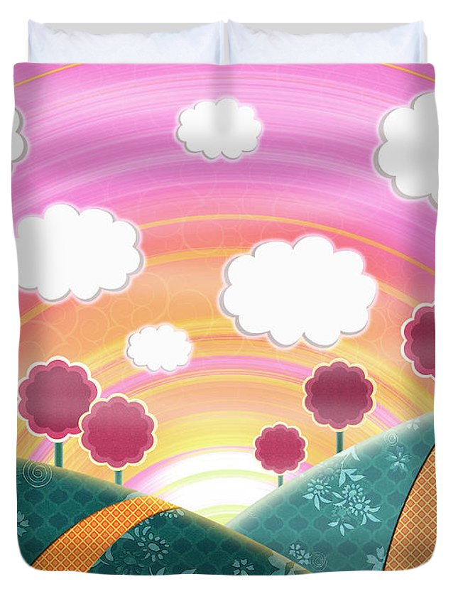 Happy Landscape Duvet Cover featuring the digital art Cuteness Overload by Shawna Rowe