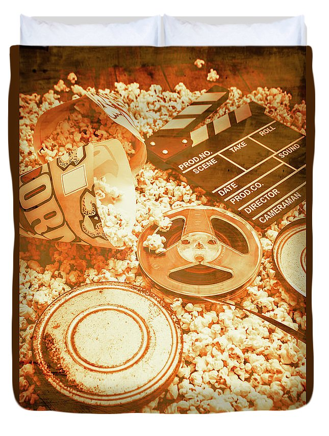 Vintage Duvet Cover featuring the photograph Cutting A Scene Of Vintage Film by Jorgo Photography - Wall Art Gallery