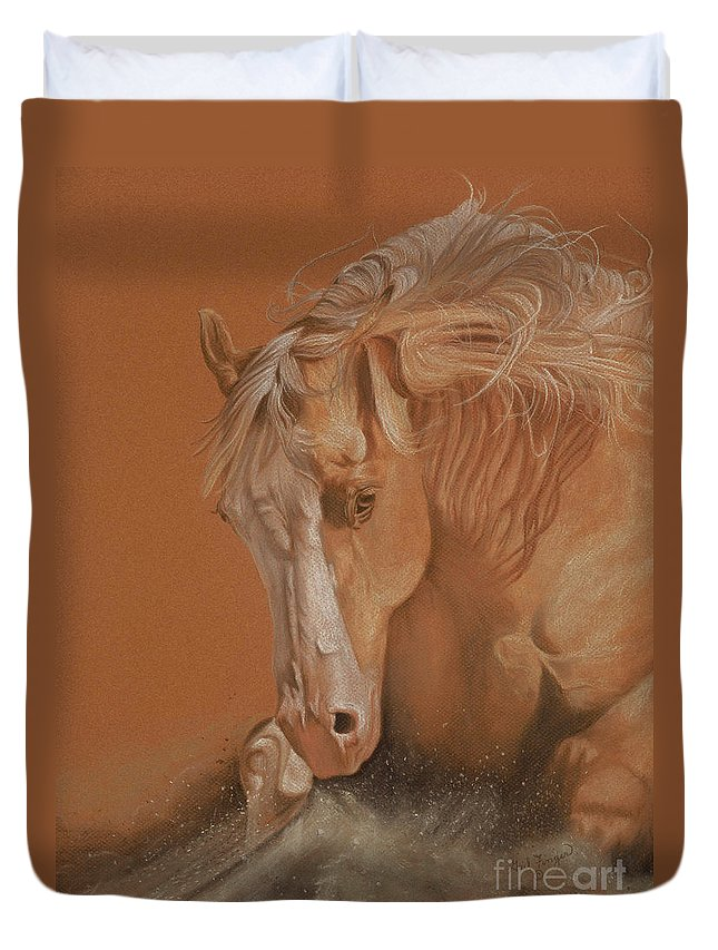Horse Duvet Cover featuring the painting Cutting Horse by Gail Finger
