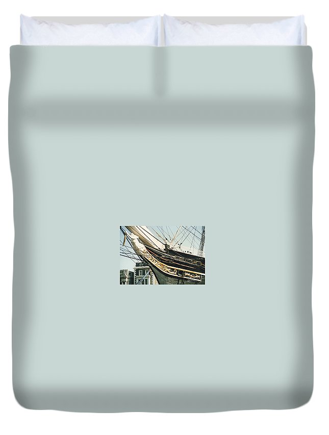 Ship Duvet Cover featuring the photograph Cutty Sark by Mary Rogers