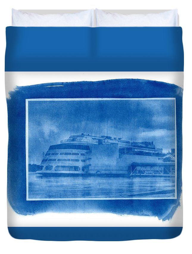 Cyanotype Duvet Cover featuring the photograph Cyanotype The Admiral St. Louis Blueprint Sunprint by Jane Linders