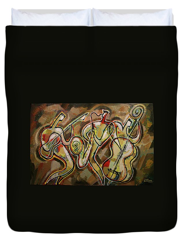 West Coast Jazz Duvet Cover featuring the painting Cyber Jazz by Leon Zernitsky