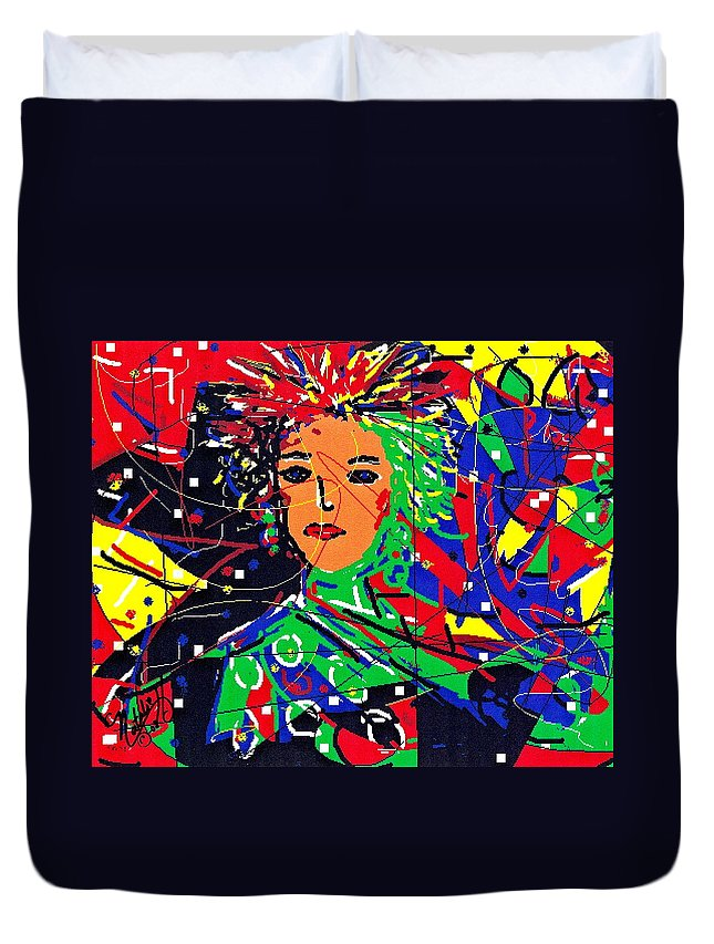 Woman Duvet Cover featuring the digital art Cyberspace Goddess by Natalie Holland