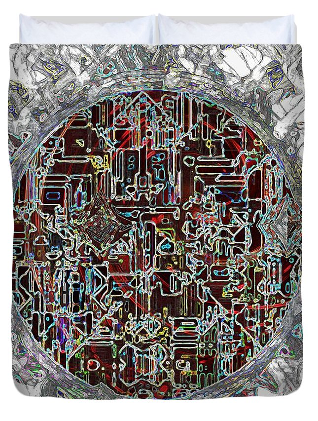 Abstract Duvet Cover featuring the painting Cyborg Heart by RC DeWinter