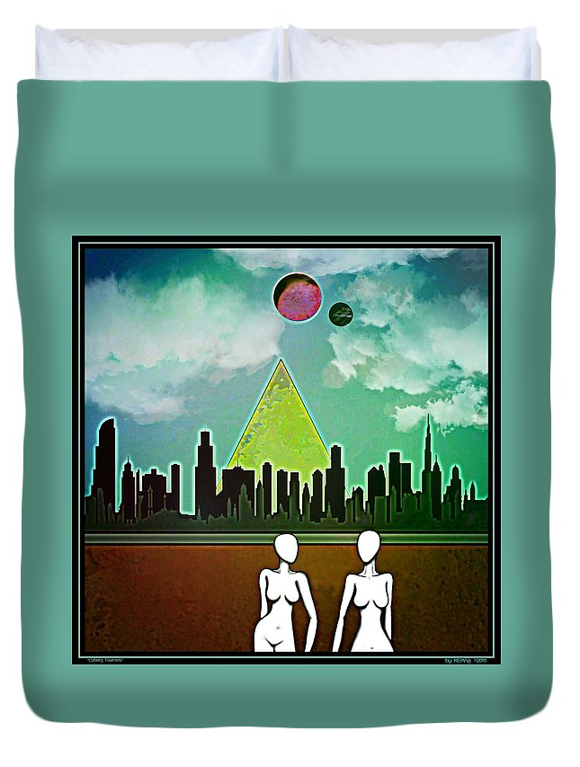Sci-fi Duvet Cover featuring the digital art Cyborg Townies by Randolph Ping