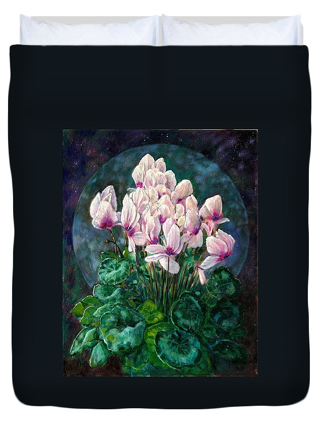 Cyclamen Flowers Duvet Cover featuring the painting Cyclamen In Orbit by John Lautermilch