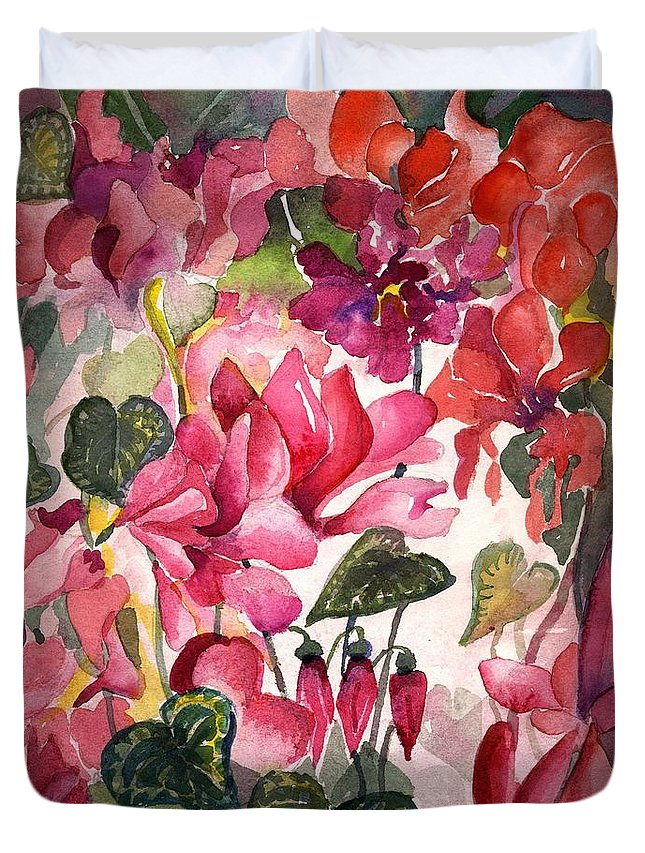Cyclamen Duvet Cover featuring the painting Cyclamen by Mindy Newman