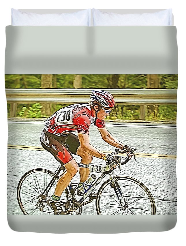 #cyclist Duvet Cover featuring the photograph Cyclist by Jan Tyler