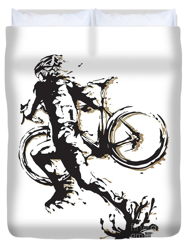 Cyclocross Duvet Cover featuring the painting Cyclocross Poster1 by Sassan Filsoof