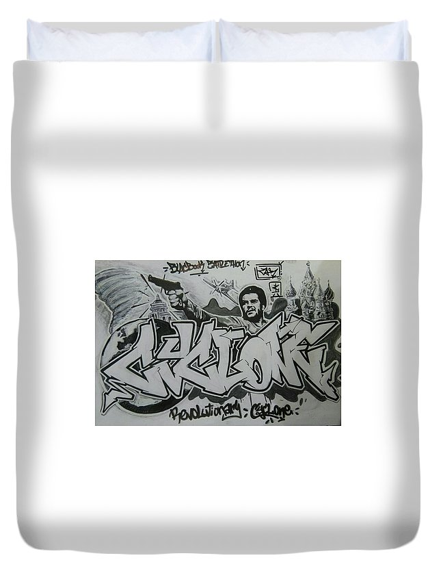 Cyclone Duvet Cover featuring the drawing Cyclone by Alessandro Ortolani