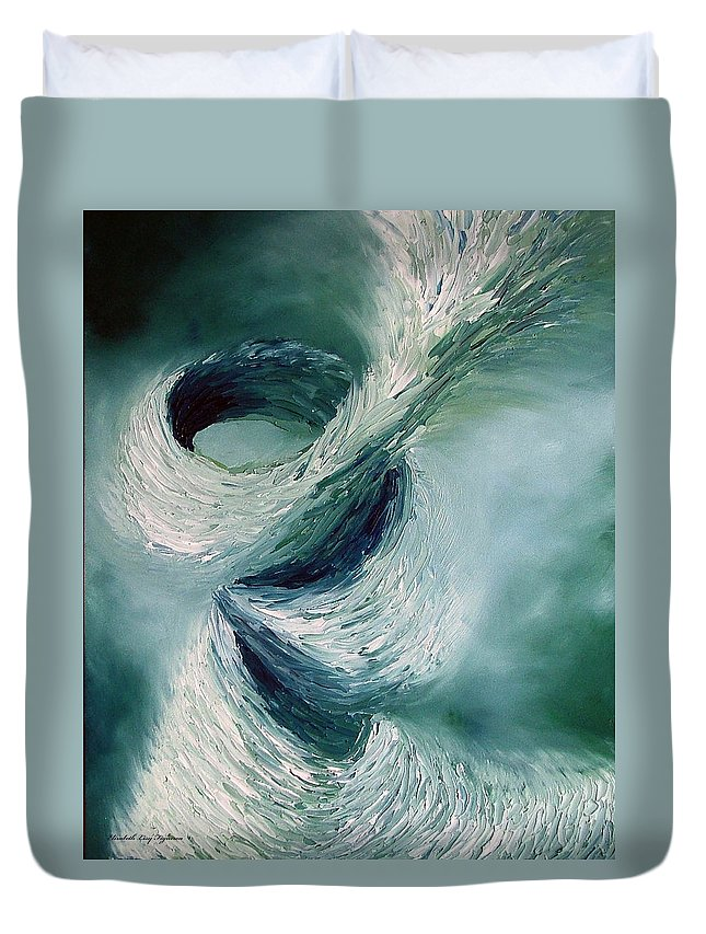 Tornado Duvet Cover featuring the painting Cyclone by Elizabeth Lisy Figueroa