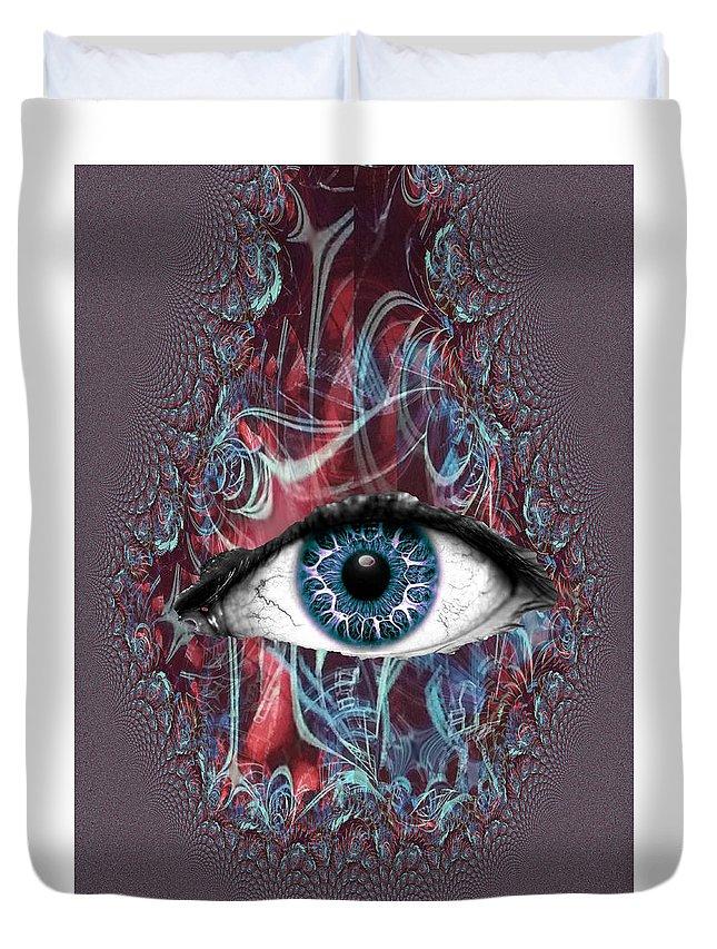 Duvet Cover featuring the digital art Cyclops by Steven Fresquez