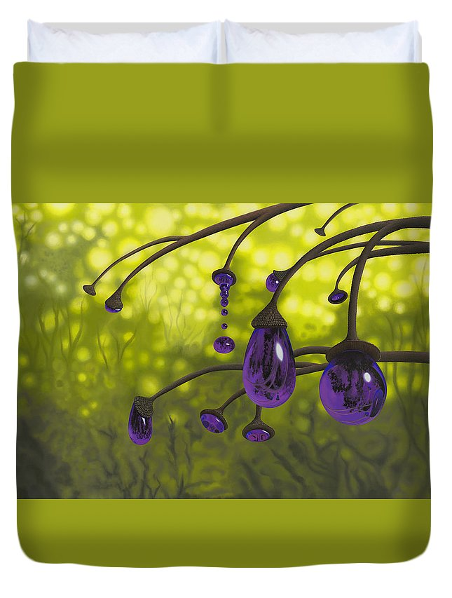 Tree Duvet Cover featuring the painting Cyphomandra Vitra by Patricia Van Lubeck