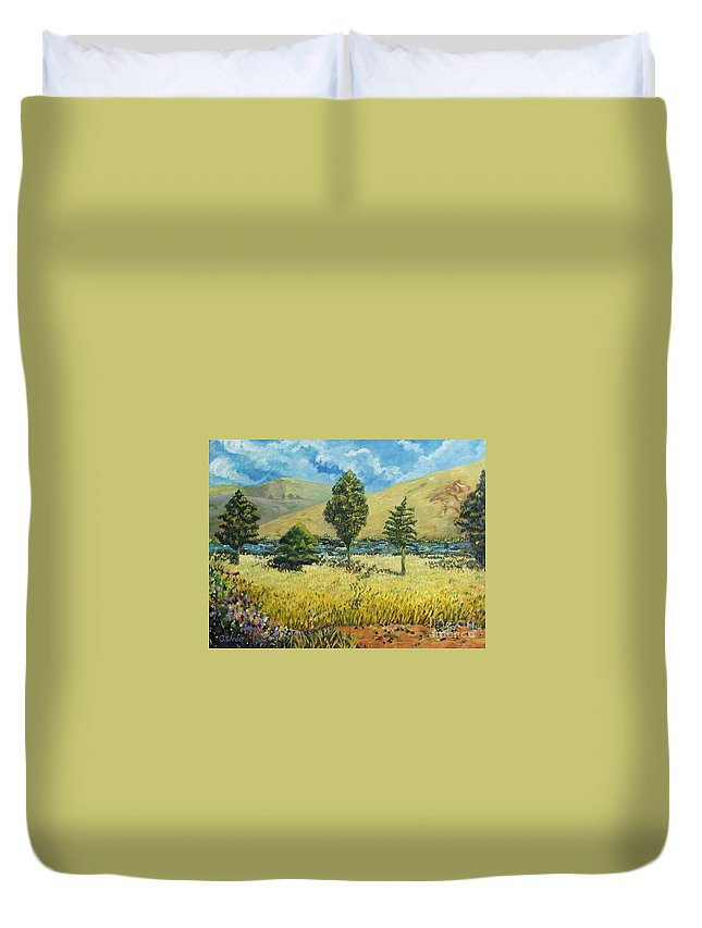 South African Landscape Duvet Cover featuring the painting Cypresses At Lydenburg by Caroline Street