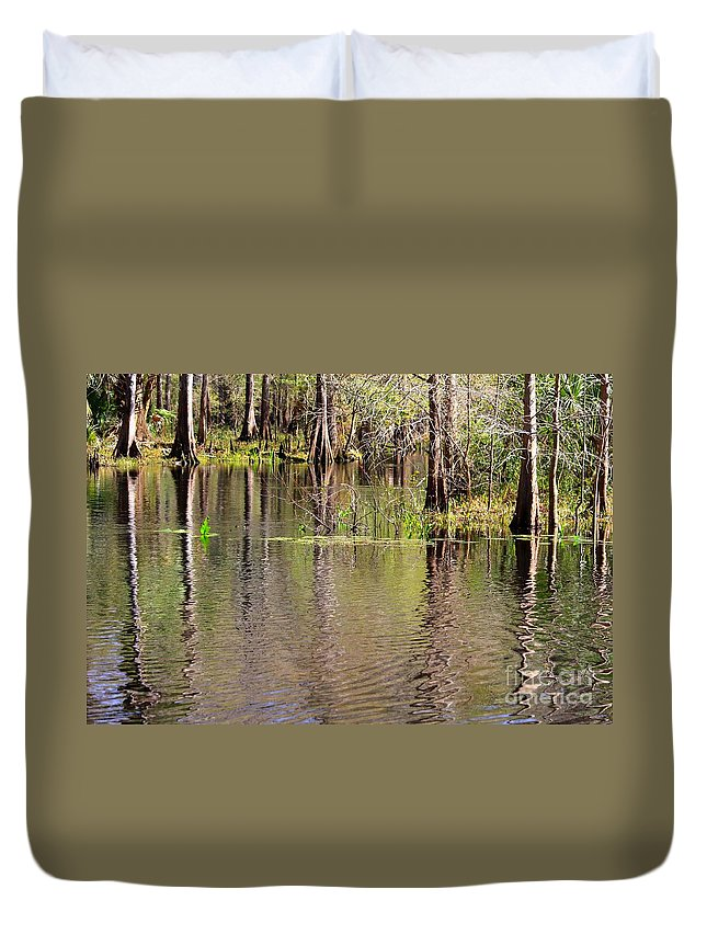 Cypress Trees Duvet Cover featuring the photograph Cypresses Reflection by Carol Groenen