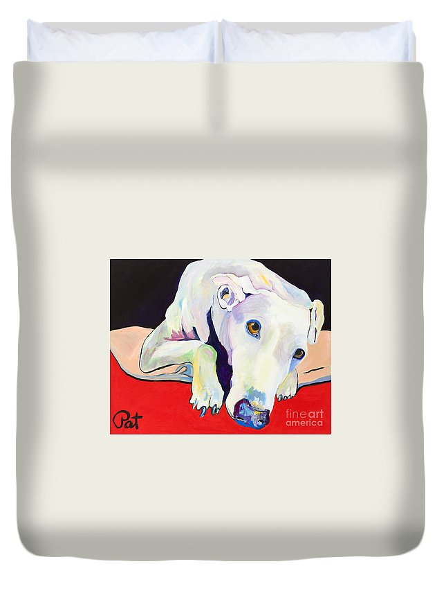 Animals Pets Greyhound Duvet Cover featuring the painting Cyrus by Pat Saunders-White