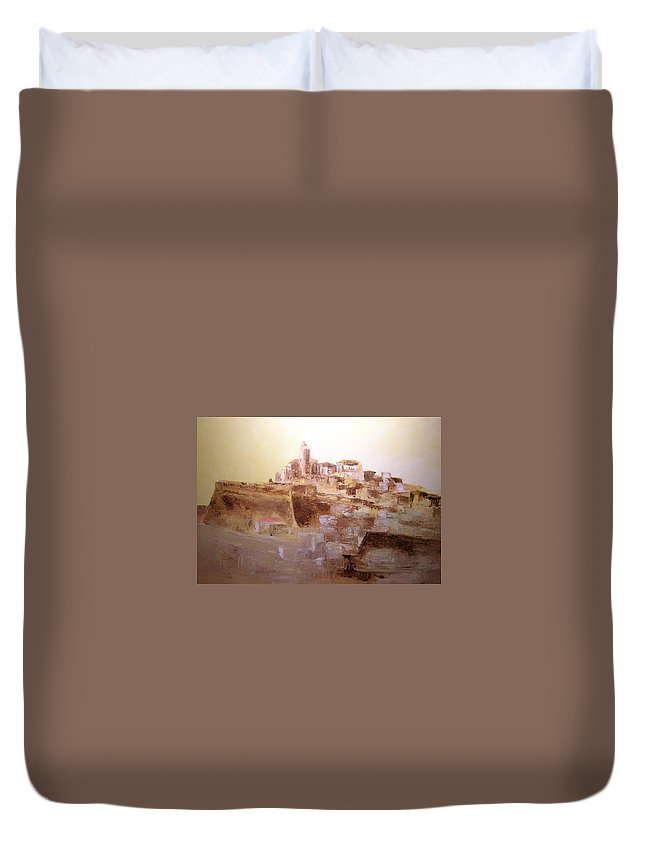 Original Cityscpae Duvet Cover featuring the painting D Alt Vila Ibiza Old Town by Lizzy Forrester