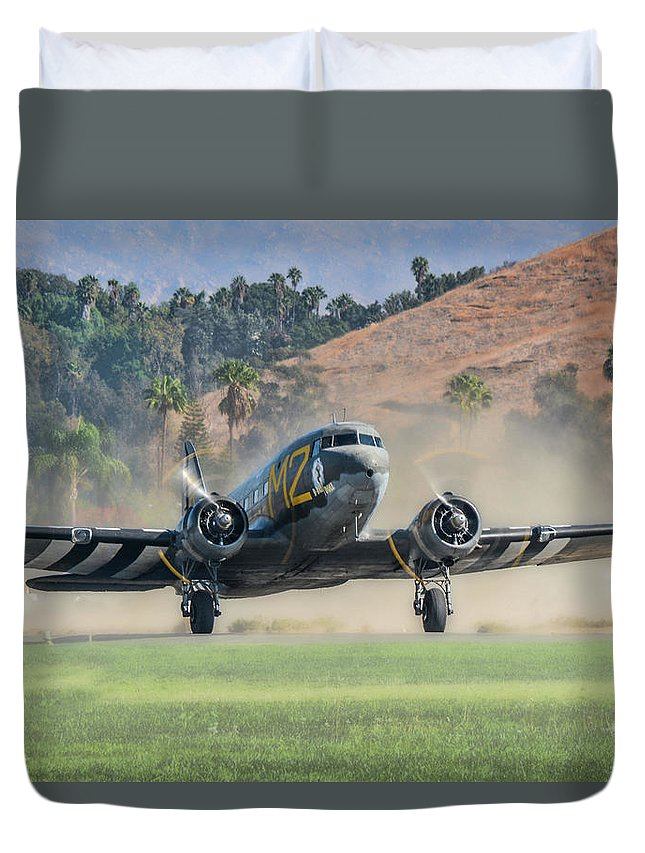 Douglas C-53 Skytrooper Duvet Cover featuring the photograph D-day Doll On Veterans Day 2 by Tommy Anderson