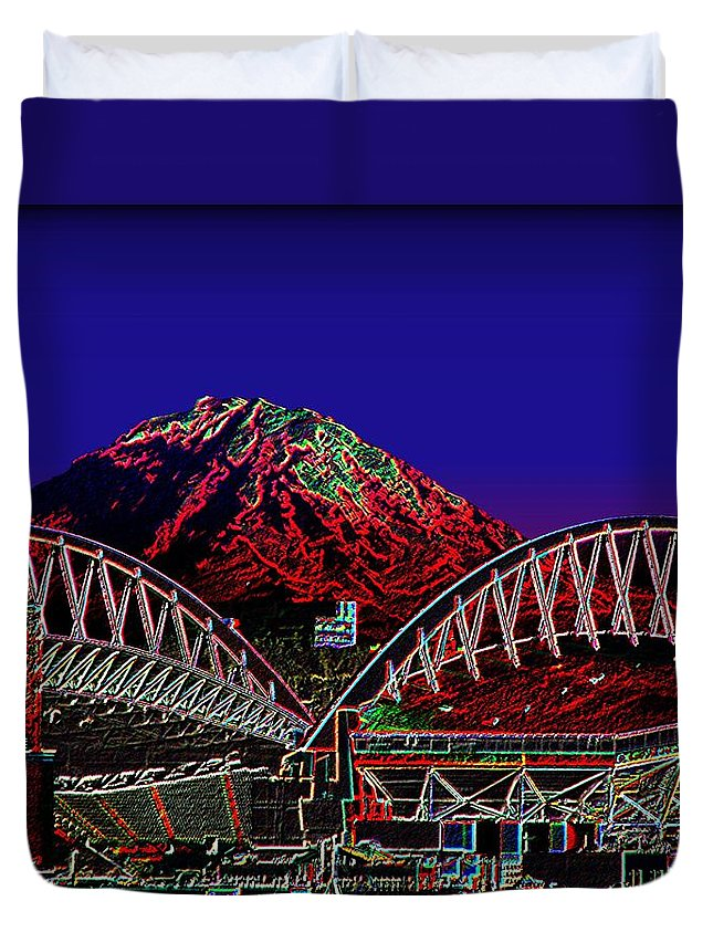 Seattle Duvet Cover featuring the photograph Da Mountain and Stadia 3 by Tim Allen