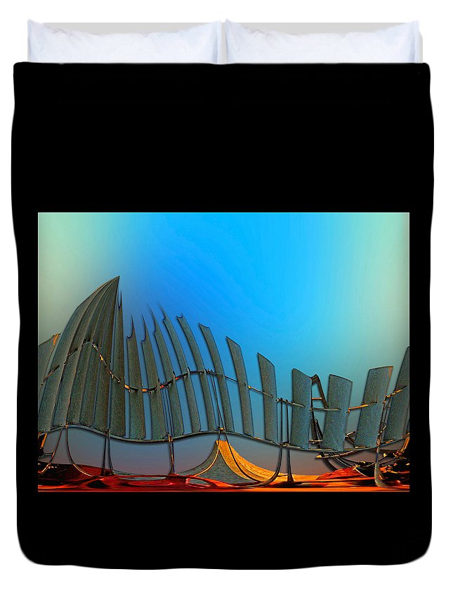 Abstract Duvet Cover featuring the digital art Da Vinci's Outpost by Wendy J St Christopher