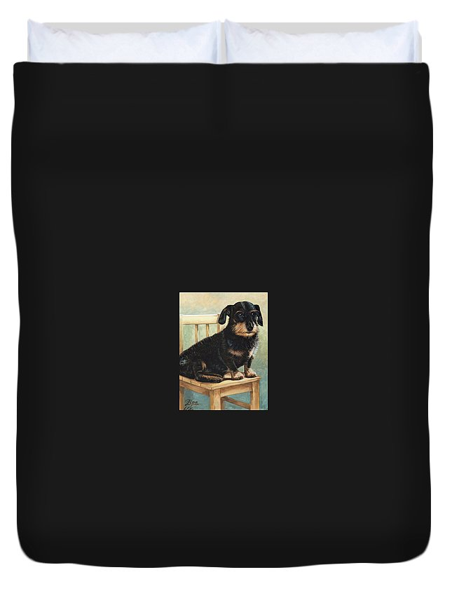 Dog Duvet Cover featuring the painting Dachshund by Nicole Zeug