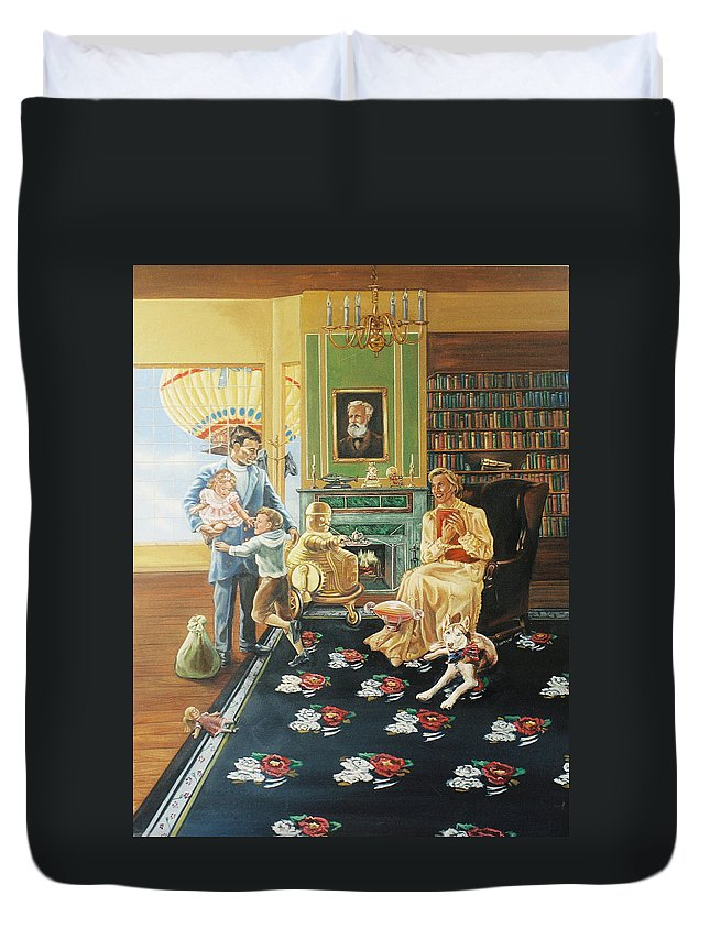 Fantasy Duvet Cover featuring the painting Daddys Home by Bryan Bustard