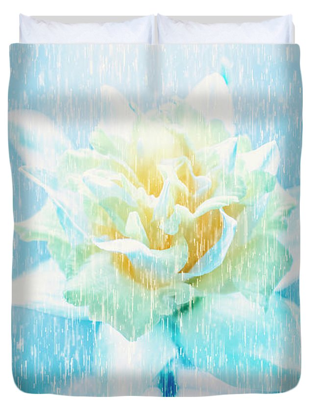 Dramatic Duvet Cover featuring the photograph Daffodil Flower In Rain. Digital Art by Jorgo Photography - Wall Art Gallery