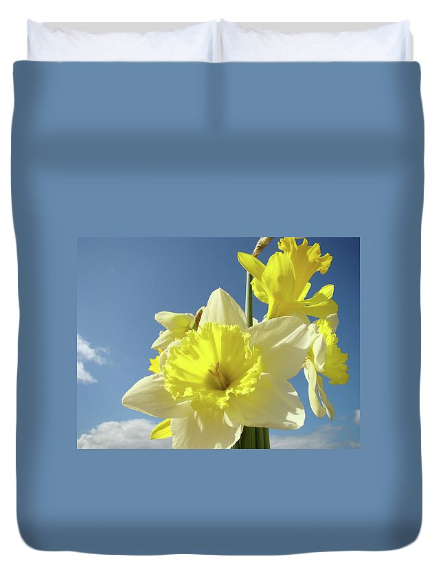 �daffodils Artwork� Duvet Cover featuring the photograph Daffodil Flowers Artwork Floral Photography Spring Flower Art Prints by Baslee Troutman