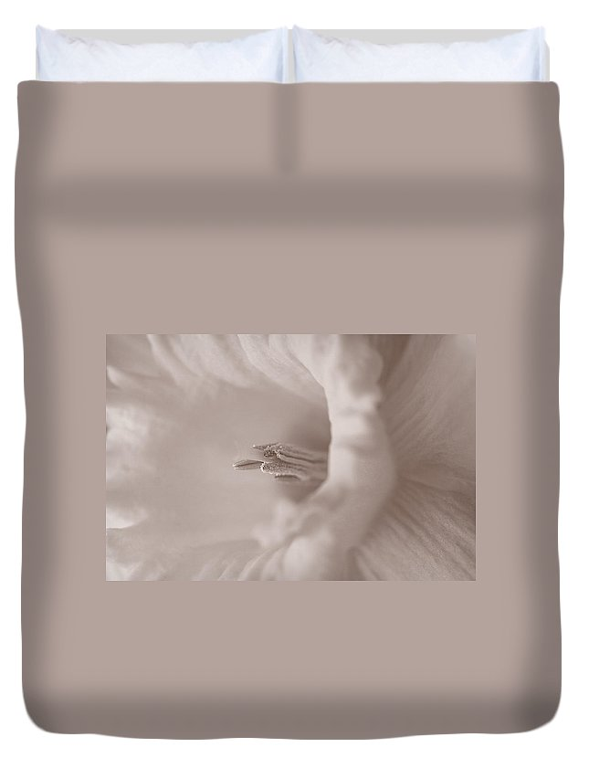 Daffodil Duvet Cover featuring the photograph Daffodil In White by Patricia Montgomery