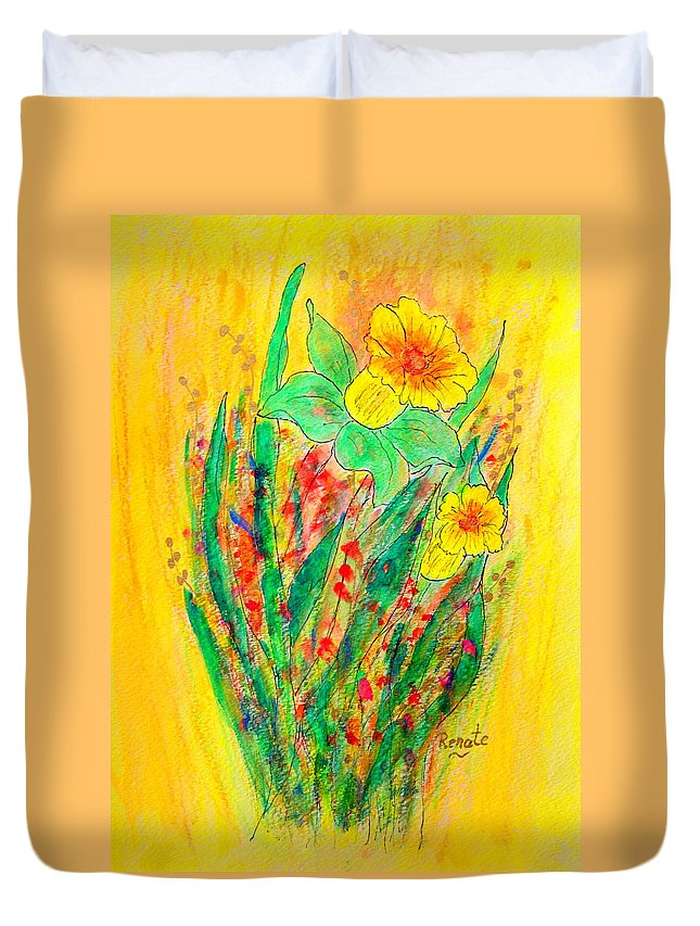 Flowers-daffodils. Duvet Cover featuring the painting Daffodiles by Renate Dartois