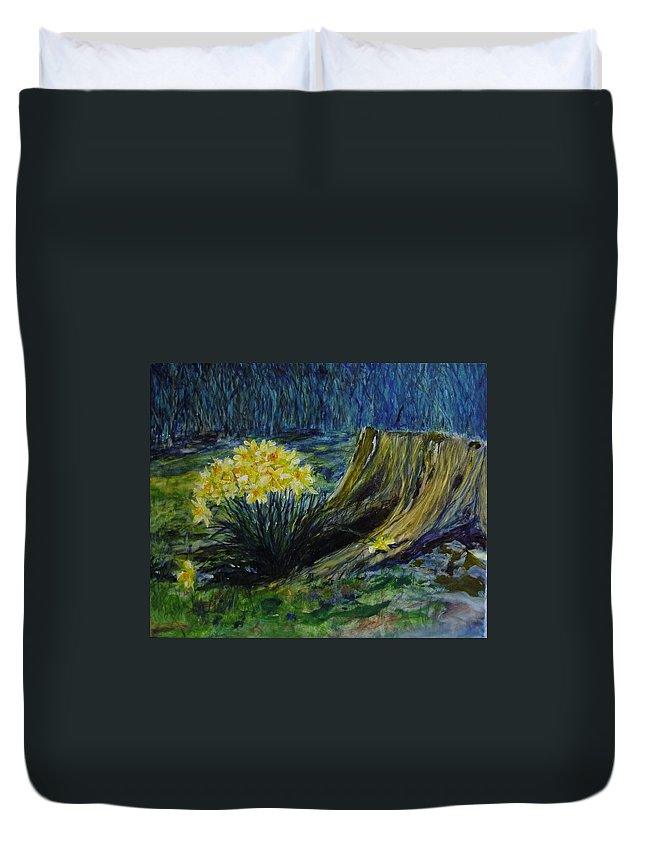 Spring Duvet Cover featuring the painting Daffodils And Tree Stump by Lizzy Forrester