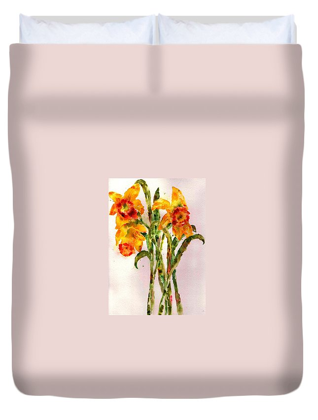 Daffodil Duvet Cover featuring the painting Daffodils by Anne Duke