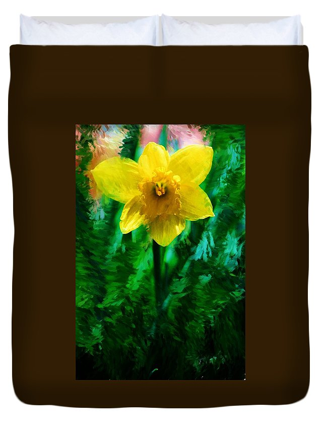 Abstract Duvet Cover featuring the photograph Daffy Dill by David Lane