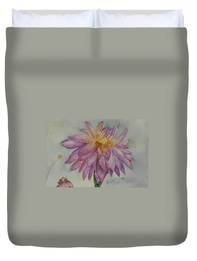 Dahlia Duvet Cover featuring the painting Dahlia At Eastport Me by Donna Walsh