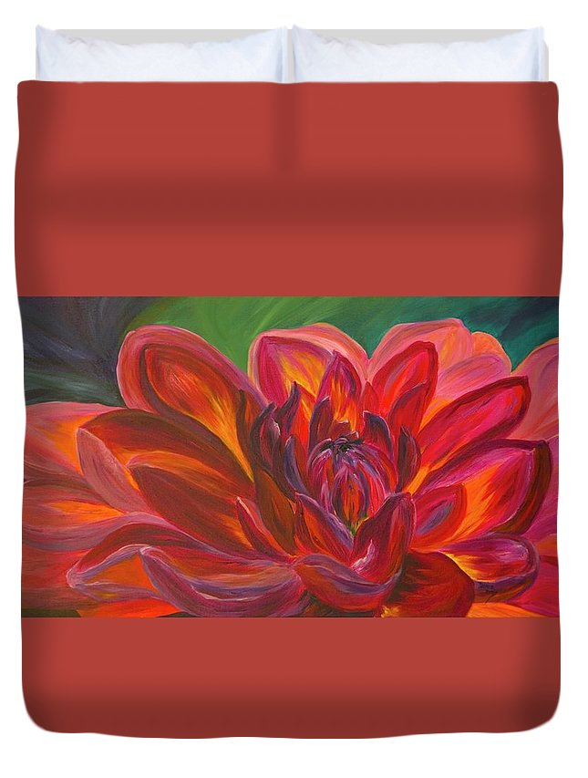Floral Duvet Cover featuring the painting Dahlia by Donna Drake