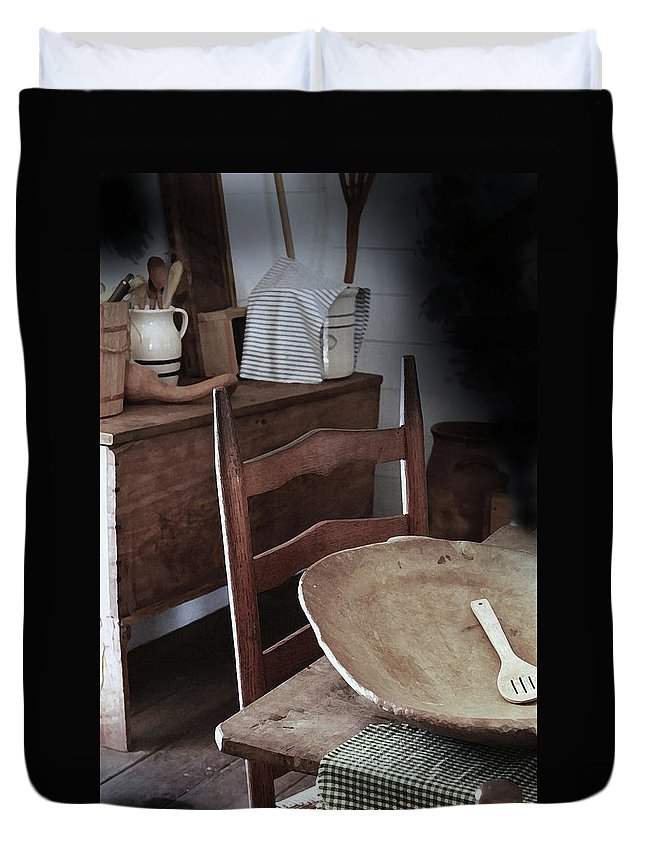 Primitive Kitchens Duvet Cover featuring the photograph Daily Bread by Kim Henderson