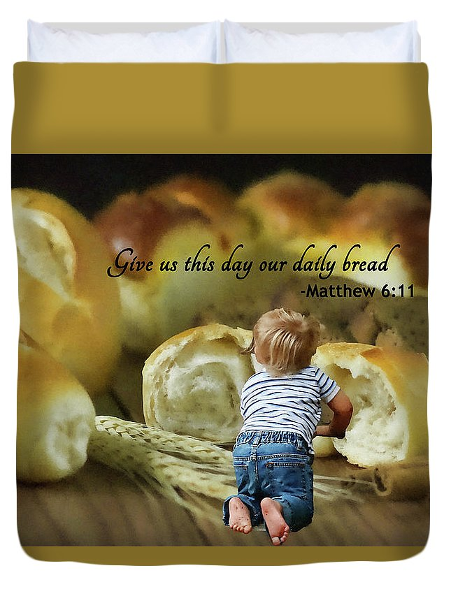 Bible Duvet Cover featuring the painting Daily Bread. by MS Fineart Creations