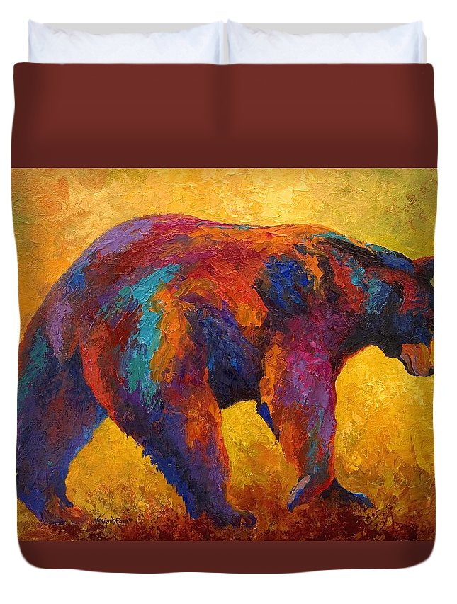 Bear Duvet Cover featuring the painting Daily Rounds - Black Bear by Marion Rose