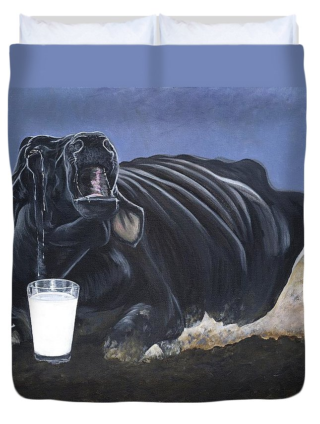 Dairy Duvet Cover featuring the painting Dairy Is A Mother's Tears by Twyla Francois